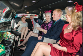 Bride's family in a Bend Limousine limo